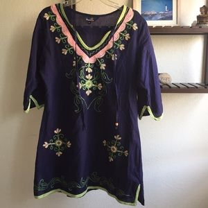 a45274503ef Riviera Sun Embroidered Navy Blue 3 4 Sleeve Tunic